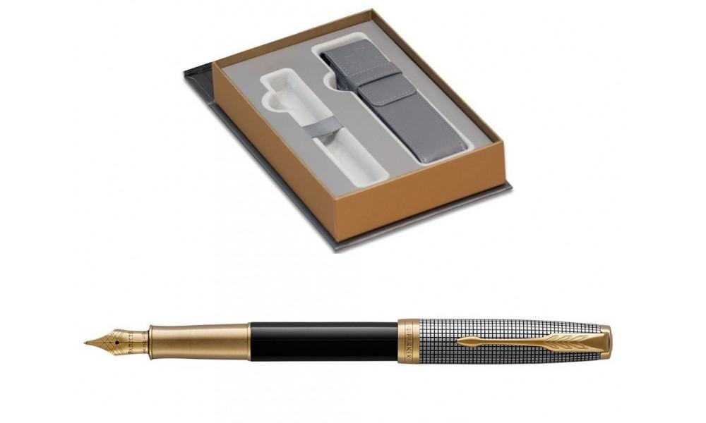 Pióro Wieczne Parker Sonnet F Premium Chiselled Silver & Black Gt Z Etui